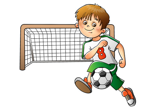 Boy playing football isolated on white background Ilustração
