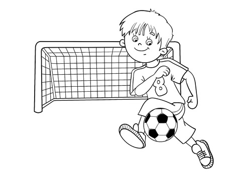coloring sheet: Coloring Page Outline Of A Cartoon Boy with a soccer ball and football goal