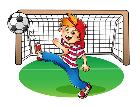 playing soccer: Boy in a red cap and striped t-shirt  with a soccer ball and football goal on white background