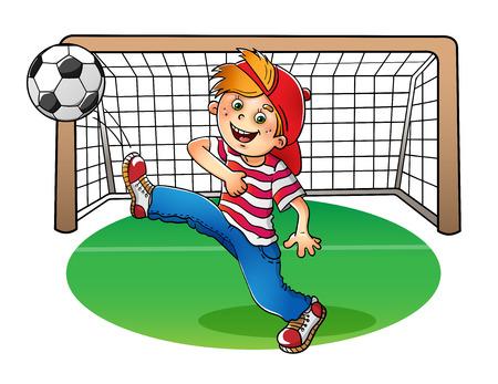 libro caricatura: Muchacho en un casquillo rojo y camiseta de rayas con un balón de fútbol y portería de fútbol en el fondo blanco