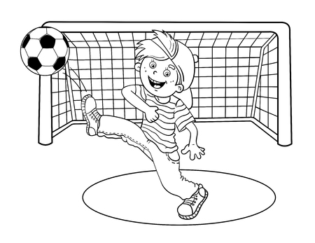 kicking: Coloring Page Outline Of A Cartoon Boy kicking a soccer ball Illustration