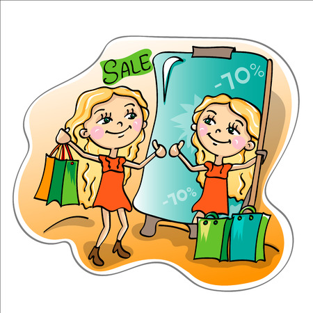 promotional offer: Time of sales. Girl with packages in front of the mirror