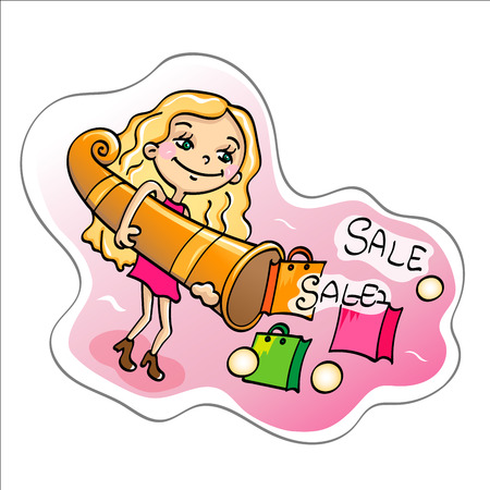 salesgirl: Time of sales.Girl with cornucopia