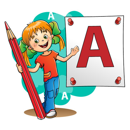 isolated on red: Young Girl  drawing a large letter in red pencil isolated on white background