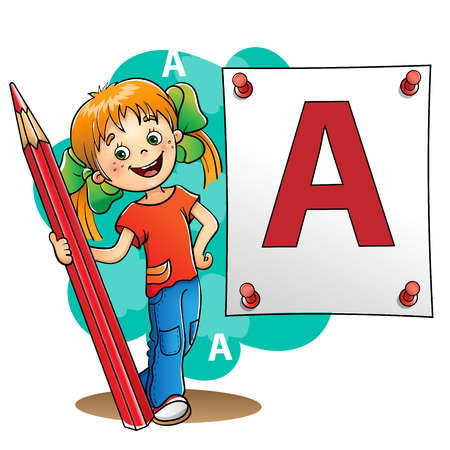 red pencil: Young Girl  drawing a large letter in red pencil isolated on white background