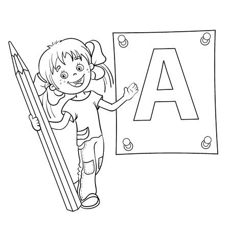 Esquema Página Para Colorear De Una Niña De Dibujos Animados Con ...