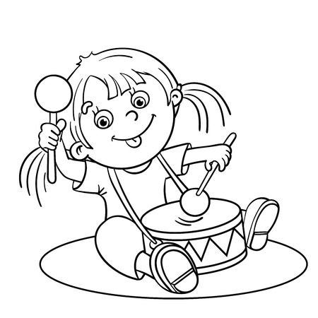 Coloring Page Outline Of A Cartoon Happy Girl Playing The Drum