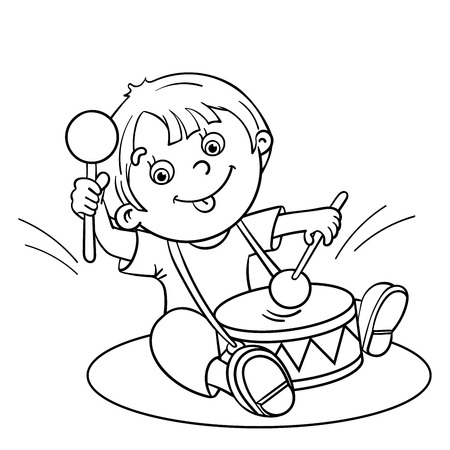 black boys: Coloring Page Outline Of a Cartoon happy boy playing the drum Illustration