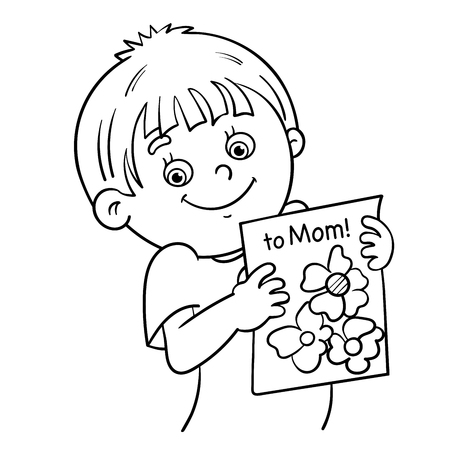 coloring pages to print: Coloring Page Outline Of a Cartoon boy with a picture