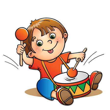 bateria musical: Muchacho alegre tocando el tambor aisladas sobre fondo blanco