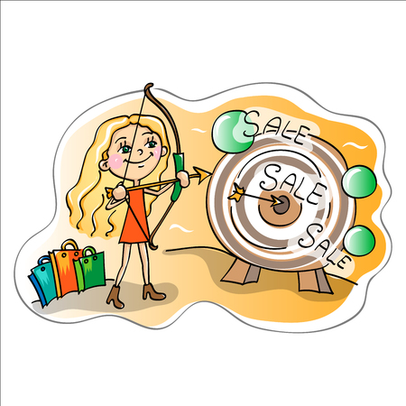 salesgirl: Time of sales.Girl with the target Illustration