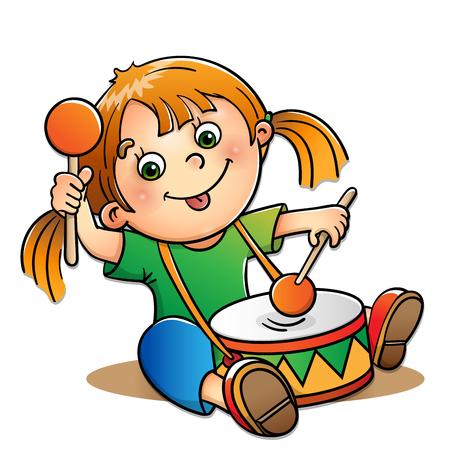 bateria musical: chica alegre que toca el tambor aislado en el fondo blanco Vectores