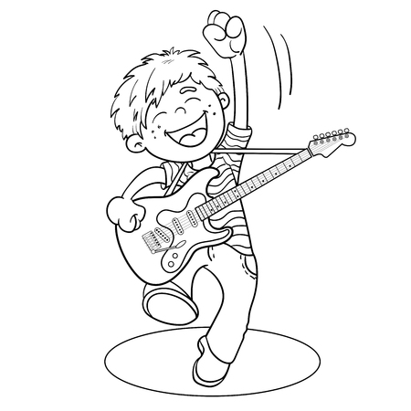 Coloring Page Outline Of a Cartoon Boy with a guitar isolated on white background