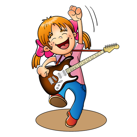 Happy girl jumping with a guitar isolated on white background Illustration