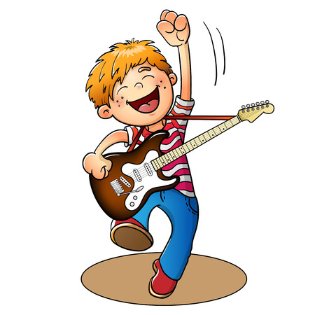 白い背景に分離されたギターとジャンプ幸せな少年