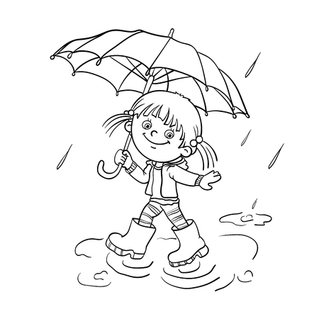girl in rain: Coloring Page Outline Of a Cartoon joyful girl walking in the rain with an umbrella Illustration