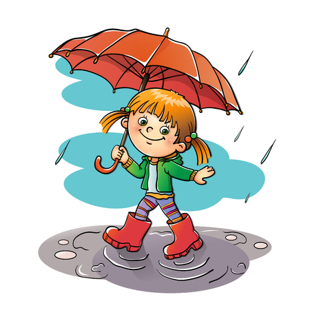 girl in rain: Happy girl walking in the rain with red umbrella isolated
