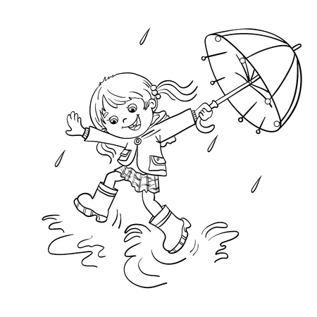 joy: Coloring Page Outline Of a Cartoon joyful girl jumping in the rain with an umbrella