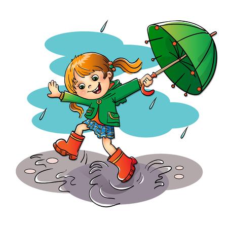 白い背景に分離された緑の傘と雨の中ジャンプうれしそうな女の子