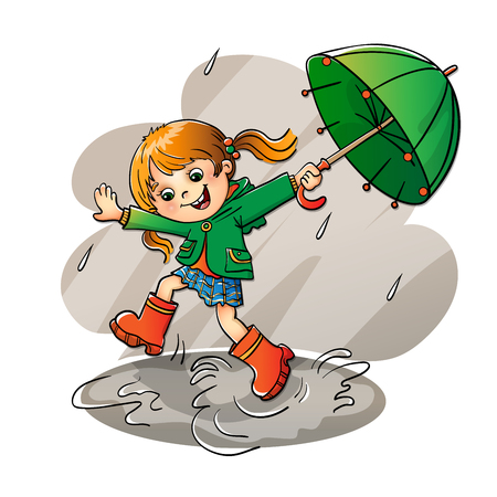 girl in rain: Joyful girl jumping in the rain with the green umbrella isolated on white background