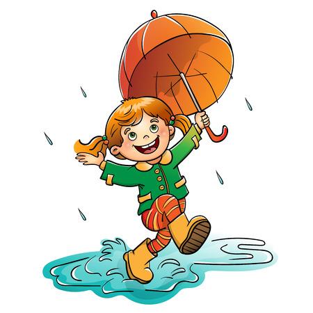 Joyful girl jumping in the rain with an orange  umbrella isolated on white background