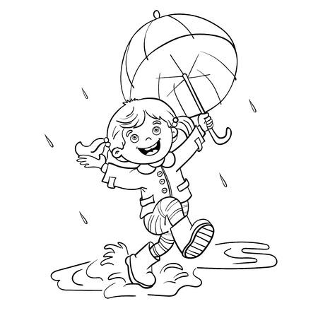Coloriage contour d'une fille joyeuse bande dessinée sautant sous la pluie avec un parapluie