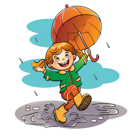 joy: Joyful girl jumping in the rain with an orange  umbrella isolated on white background