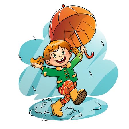 girl in rain: Joyful girl jumping in the rain with an orange  umbrella isolated on white background