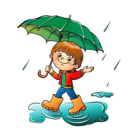 rain boots: Muchacho alegre caminar bajo la lluvia aislada en el fondo blanco Vectores