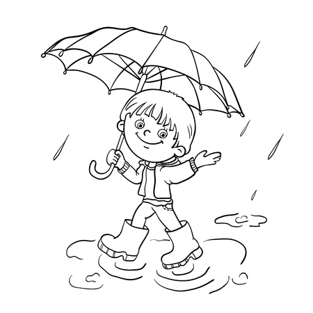 rain boots: Esquema P�gina para colorear de un ni�o feliz de dibujos animados caminar bajo la lluvia con un paraguas