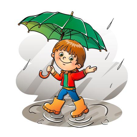 botas de lluvia: Muchacho alegre caminar bajo la lluvia aislada en blanco Vectores