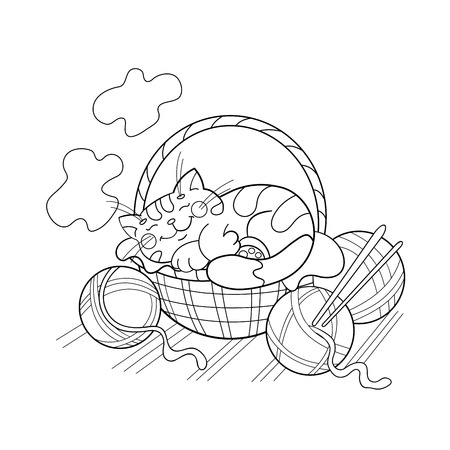 cat sleeping: Coloring Page Outline Of a cute cat sleeping in a basket Illustration