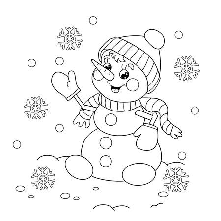 Página para colorear Esquema de muñeco de nieve de dibujos animados. libro para colorear para los niños inviernos