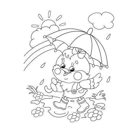 black boys: Coloring Page Outline Of a happy chicken walking in the rain with umbrella Illustration