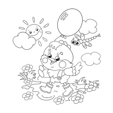 Coloring Seite Umriss Cartoon Jungen Mit Herzen. Malbuch Für Kinder ...