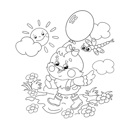 black boys: Coloring Page Outline Of a happy chicken walking with a balloon