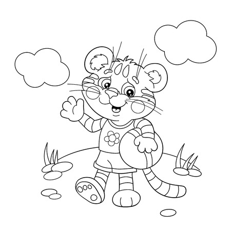 tiger page: Coloring Page Outline Of a little tiger with a ball Illustration