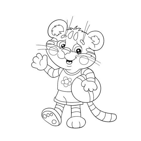 Página Para Colorear Esquema De Dibujos Animados Del Gato Jugando ...