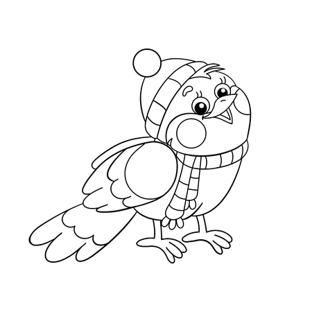 Coloring Page Outline Of a funny bird in winter Vektorové ilustrace