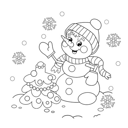 Coloring Page Outline Of cartoon snowman with Christmas tree. Winters coloring book for kids