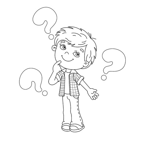 Coloring page outline of cartoon Boy with the big questions