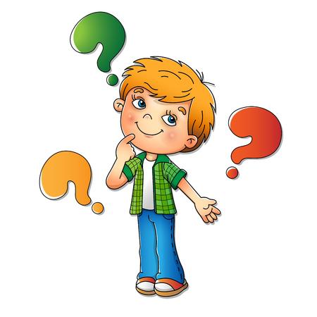 Boy en chemise à carreaux avec des questions isolé sur fond blanc