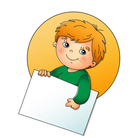 face expressions: Cute boy holding a sign isolated on white background