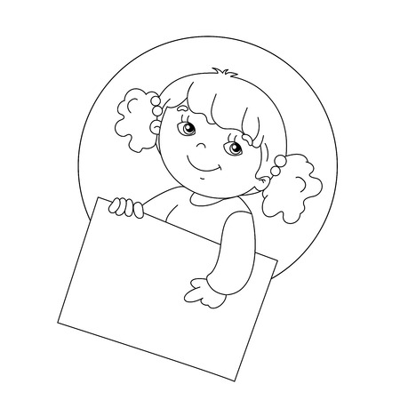 smiling child: Coloring page outline of Cute girl holding a sign