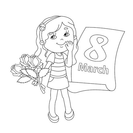 Coloring page outline of Beautiful girl with bouquet of roses in his hand with a calendar. March 8. Mother's day. Women's day. Stock Vector - 58308732