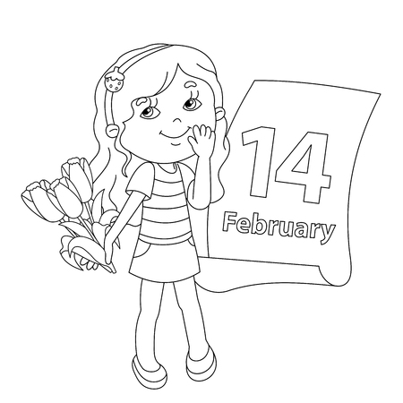 february 14: Coloring page outline of Beautiful girl with bouquet of tulips in his hand with a calendar. February 14. Valentines day. Day of lovers. Illustration