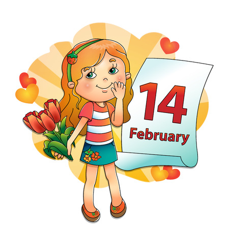 february 14: Beautiful girl with bouquet of tulips in his hand with a calendar on a white background. February 14. Valentines day. Day of lovers.