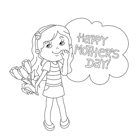 white day: Coloring page outline of Beautiful girl with bouquet of tulips in his hand on a white background. Mothers Day.