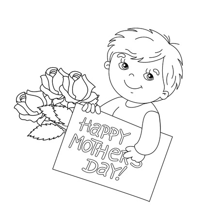 white day: Coloring page outline of cute boy with a card for Mothers Day with a bouquet of roses Illustration