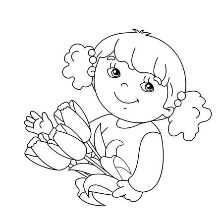Dibujo Para Colorear Silueta De La Muchacha Hermosa Con Se Levantó